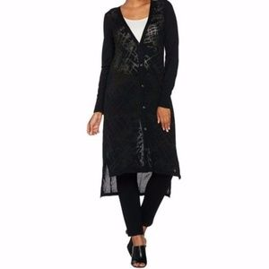 H by Halston Button Front Burnout Long Cardigan
